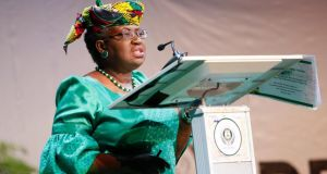 "Nigeria's finance minister Ngozi Okonjo-Iweala. ""Could do more,"" she told the Shell who had proudly declared that  that the exploration company had paid $12 billion in taxes last year to African countries ""including $4.5 billion into your treasury,  Ngozi"". Photograph: Reuters"