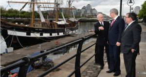 From left: Canada's ambassador to Ireland Loyola Hearn, prime minister Stephen Harper and finance minister Jim Flaherty visit the Jeanie Johnston famine ship. Photograph: Dara Mac Dónaill