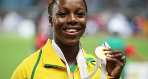 World 200m champion, sprinter Veronica Campbell-Brown of Jamaica has tested positive for a banned diuretic and faces a two year ban from athletics competition. FILE - JUNE 16, 2013: World 200m champion, sprinter Veronica Campbell-Brown of Jamaica has tested positive for a banned diuretic and faces a two year ban from athletics competition OSAKA, JAPAN - AUGUST 28: Gold medalist Veronica Campbell of Jamaica shows off her gold medal from the Women's 100m on day four of the 11th IAAF World Athletics Championships on August 28, 2007 at the Nagai Stadium in Osaka, Japan. (Photo by Andy Lyons/Getty Images)
