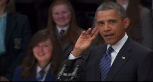 Television screengrab of US President Barack Obama speaking in Belfast's Waterfront Hall this morning