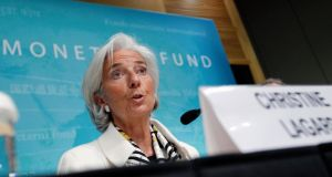 "International Monetary Fund managing director Christine Lagarde called on the United States to ""hurry up with putting in place a medium-term road map to restore long-run fiscal sustainability"". Photograph:  Reuters/Jose Luis Magana"