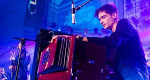 Jon Hopkins performing in London in 2011: 'For live shows . . . It's quite physical – it certainly isn't just me sitting quietly behind a laptop. And it's very loud, very dancey.' Photograph:  Hayley Madden/Redferns