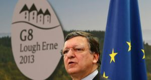 European Commission President Jose Manuel Barroso speaks at a news conference before the start of a G8 summit in Enniskillen, Northern Ireland
