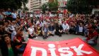 Members of the Confederation of Revolutionary Trade Unions of Turkey (Disk) take part in a protest in central Ankara yesterday. Photograph: Dado Ruvic/Reuters