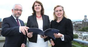 Pictured (LtoR) Chief executive of the Pensions Board Brendan Kennedy, Minister for Social Protection Joan Burton  and chairperson of the Pensions Board Jane Williams at the Pensions Board Annual Report and Accounts for 2012 in Dublin.