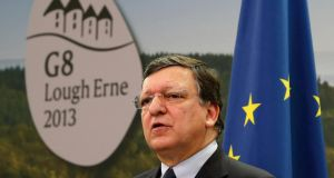 European Commission president Jose Manuel Barroso speaks at a news conference before the start of a G8 summit in Enniskillen, Northern Ireland.