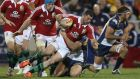 Rob Kearney of the Lions is tackled during the  match against the ACT Brumbies and the British & Irish Lions at Canberra Stadium. Photograph:   David Rogers/Getty Images