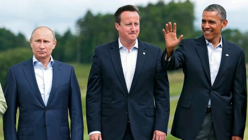 Putin, Cameron and Obama. Different approaches and different agendas. Photograph: Suzanne Plunkett/Reuters