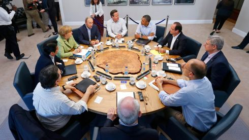 G8 leaders gather for a conference at Lough Erne - clockwise from top, British prime minister David Cameron, US president Barack Obama, French president Francois Hollande, Canadian prime minister Stephen Harper, Italian prime minister Enrico Letta,  European Council president Herman Van Rompuy, European Commission president José Manuel Barroso, Japanese prime minister Shinzo Abe, German chancellor Angela Merkel and Russian president Vladimir Putin. Photograph: Yves Herman/Reuters