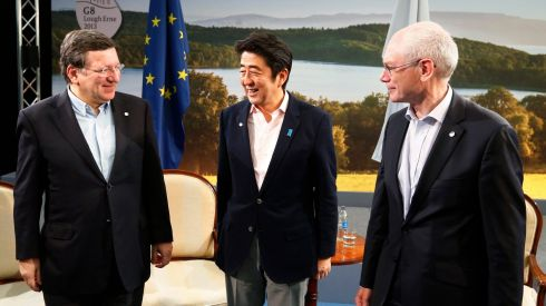 European Commission president José Manuel Barroso (left) and European Council president Herman Van Rompuy (right) with Japan's prime minister Shinzo Abe. Photograph: Yves Herman/Reuters