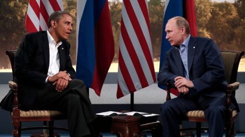 Tough talk: US president Barack Obama with Russian president Vladimir Putin. Photograph: Photograph: Kevin Lamarque/Reuters
