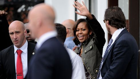 US First Lady Michelle Obama waves to the crowd as she leaves Finnegan's Pub in Dalkey. Photograph: Julien Behal/PA Wire