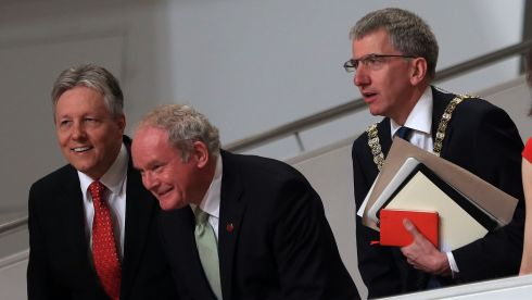 Northern Ireland's First Minister Peter Robinson with  deputy First Minister Martin McGuinness and Lord Mayor of Belfast Mairtín Ó Muilleóir, waiting for US President Barack Obama during his visit to the Waterfront Hall, Belfast, ahead of the G8 summit. Photograph: William Cherry/Presseye/PA Wire