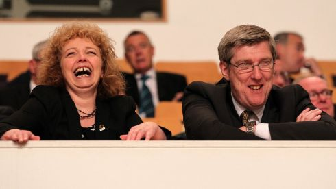 Northern Ireland's Minister for Culture Carál Ní Chuilín and Minister for Education John O'Dowd await the US president at the Waterfront Hall. Photograph: Brian Little/Presseye/PA Wire