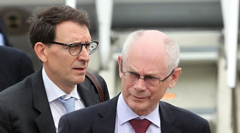 President of the European Council Herman Van Rompuy arrives at Belfast International airport. Photograph: Peter Muhly/PA Wire