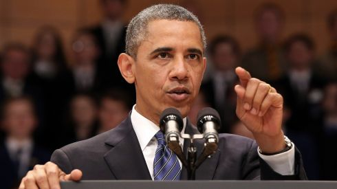 Obama gets into detail in the Waterfront Hall speech. Photograph: Paul Faith/PA