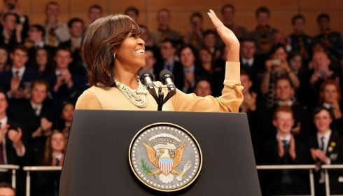 US first lady Michelle Obama waves to the Waterfront crowd. Photograph: Paul Faith/PA