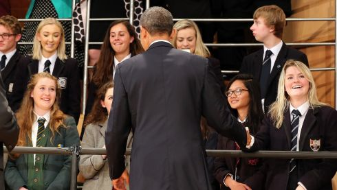 The US president meets and greets schoolchildren. Photograph: Paul Faith/PA Wire