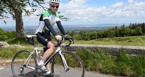 Paul O'Neill training in the Dublin mountains for the fearsome Marmotte route. Photograph: Dara Mac Dónaill