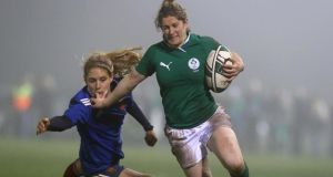 Ireland's Alison Miller during the Six Nations game against France. The lack of sponsorship in women's sport will be discussed at a conference tomorrow.