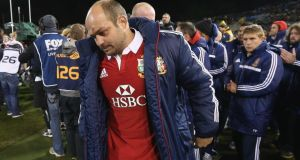 Lions' captain Rory Best looks dejected after his team's defeat to the ACT Brumbies at Canberra Stadium yesterday in Canberra, Australia. Photograph: David Rogers/Getty Images