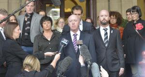 Jill Meagher s father George McKeon makes a statement to the media on the steps of the Supreme Court after the sentencing of Adrian Bayley for his daughter's rape and murder. Photograph: Michael Clayton / Fairfax Media