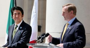 Prime Minister of Japan Shinzo Abe and Taoiseach Enda Kenny at a joint press conference at Government Buildings in Dublin today. Photograph: Julien Behal/PA Wire