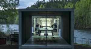 Norwegian wood: the pulp-press pavilion and projection wall at Kistefos Museum and Sculpture Park