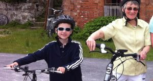 Ben Shields, Athenry, Co Galway (8), and Maeve Brady (70) on the Greenway cycle