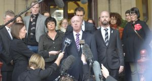 Jill Meagher's father George McKeon makes a statement to the media on the steps of the supreme court after the sentencing of Adrian Ernest Bayley for his daughter's rape and murder. Photograph: Fairfax