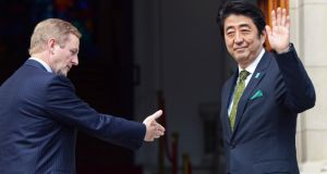 Enda Kenny and the prime minister of Japan Shinzo Abe at Government Buildings in Dublin yesterday. Photograph: Eric Luke