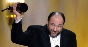 James Gandolfini holds up his award for winning Outstanding Performance by a Male Actor in a Drama Series in The Sopranos at the 14th annual Screen Actors Guild Awards in Los Angeles in this January 27, 2008 file photo.Photograph: Danny Moloshok/Reuters