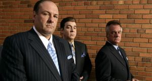 Tony Soprano with his stooges, in a scene from The Sopranos.