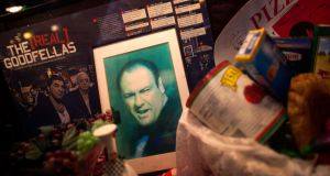 A picture of actor James Gandolfini  displayed in the window of a restaurant in the Little Italy neighborhood of New York after news of his death became known. Photograph: Eric Thayer/Reuters