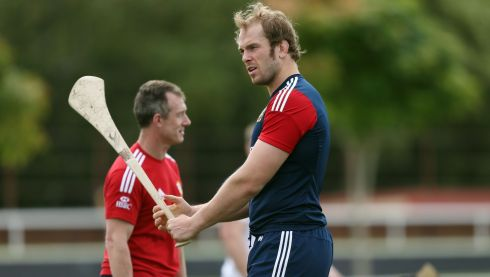 Lions Alun Wyn Jones tried his hand at hurling during a training session at Anglican Church Grammar School, Brisbane in Australia. Photograph: David Davies/PA Wire.