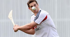 Welshman George North keeps his eye on the ball as he tries his hand at hurling during the British and Irish Lions training session held at the Anglican Church Grammar School   in Brisbane, Queensland, Australia. Photograph:  David Rogers/Getty Images