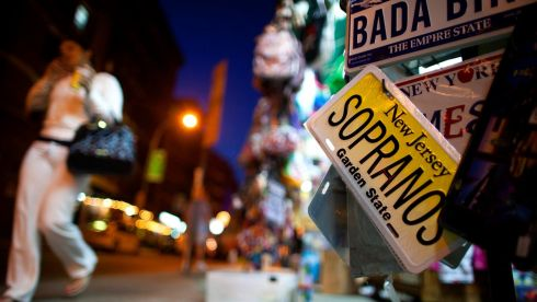 A Sopranos licence plate is displayed in the Little Italy neighborhood of New York. James Gandolfini, the burly actor best known for his Emmy-winning portrayal of a conflicted New Jersey mob boss in the acclaimed HBO cable television series The Sopranos, has died while on holiday in Rome. Photograph: Eric Thayer/Reuters