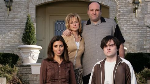 Actor James Gandolfini (back right) portrays character Tony Soprano from the HBO drama cable television series The Sopranos along with co-stars Edie Falco (back left), Jamie-Lynn Sigler (front left), and Robert Iler, who play his wife and children in the series      Photograph: HBO/Handout via Reuters