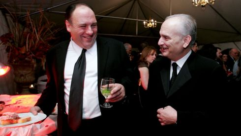 James Gandolfini (left) and David Chase, the creator of The Sopranos television show, at Drumthwacket in Princeton, New Jersey in  2005.  Photograph: Aaron Houston/The New York Times