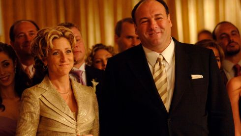 Actor James Gandolfini  with co-star Edie Falco, who played his wife Carmela, in the acclaimed HBO cable television series The Sopranos.  Photograph: HBO/Handout