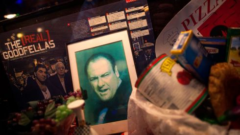 A picture of actor James Gandolfini is displayed in the window of a restaurant in  Little Italy, New York. Photograph: Eric Thayer/Reuters