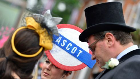 Tube-themed headwear at the Royal Ascot festival. Photograph: Reuters/Darren Staples
