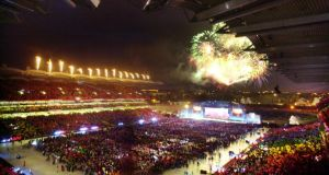 The fireworks display at the opening ceremony of the 2003  games at Croke Park