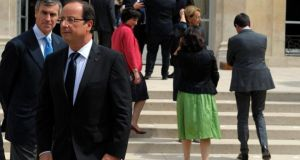 France's president François Hollande walks away from budget minister Jérôme Cahuzac after a minor government reshuffle, outside the Elysee Palace in Paris, on July 4th last. Photograph: Philippe Wojaze/Reuters