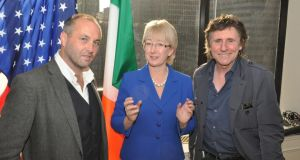 Colm McCann, with former minister Mary Hanafin and actor Gabriel Byrne at an event in New York. Photograph: James Higgins