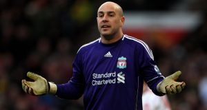 Pepe Reina says he is happy to stay at Liverpool, 'in principle'.  Photograph: Alex Livesey/Getty Images