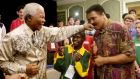 "When Nelson met Muhammad: Nelson Mandela lands a ""straight left"" to the chin of former world champion Muhammad Ali as South African Special Olympics Athlete Rofhiwa looks on during the 2003 Games in Ireland. Photograph: Ray McManus /Sportsfile"