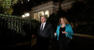 Pasok Socialist party leader Evangelos Venizelos leaving the prime minister's office after a meeting with coalition leaders last night . Photograph: John Kolesidis/Reuters