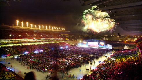 The fireworks display at the opening ceremony of the 2003 Special Olympics World Summer Games at Croke Park. Photograph: Alan Betson/The Irish Times