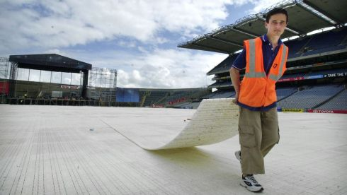 Preparing Croke Park for ahead of the opening of the Special Olympics in Dublin. Photographer: Dara MacDónaill/The Irish Times